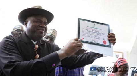 Diri Receives Certificate of Return Form INEC