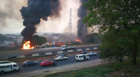 Gas station on fire in Magodo