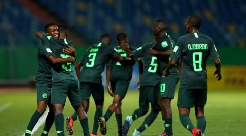 President Buhari celebrates Eaglets' victory