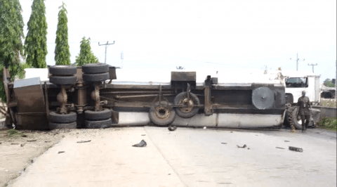 Danger Averted as Petrol Tanker Skid off Delta Highway
