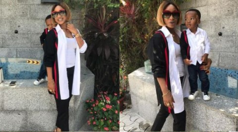 Tonto Dikeh rocks matching outfit with son
