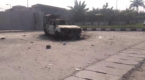 Angry Mob Set Police Van Ablaze in Delta