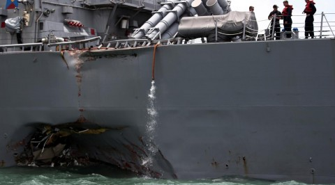 U.S warship collides with oil tanker
