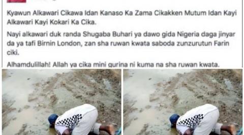 Buhari's return: man drinks muddy water