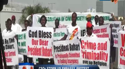 CSOs Storm U.S. Embassy, Protest Travel Ban on Nigeria.