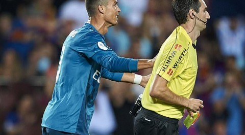 Ronaldo facing ban of up to 12 matches for pushing ref