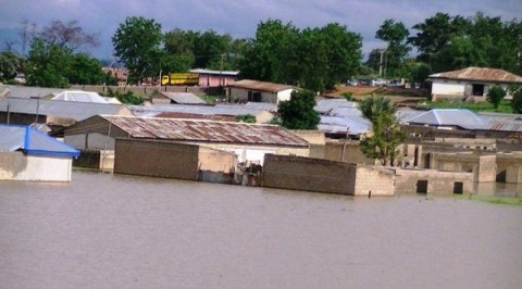 Displaced flood victims seek relief materials