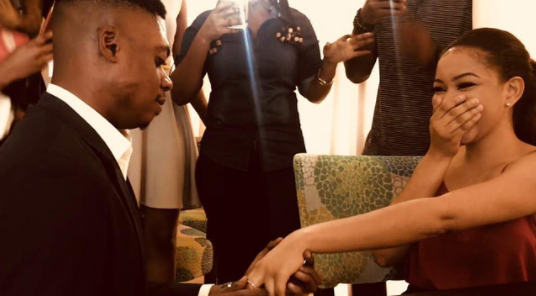 Comedian Ebiye proposes to his video vixen girlfriend