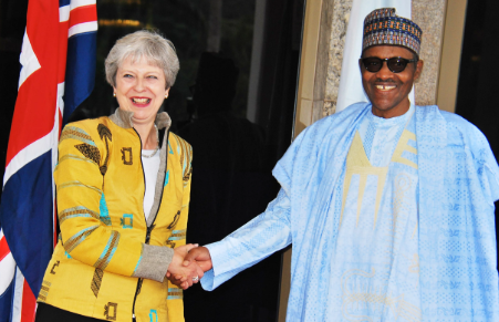 Buhari meets Theresa May in Aso Rock