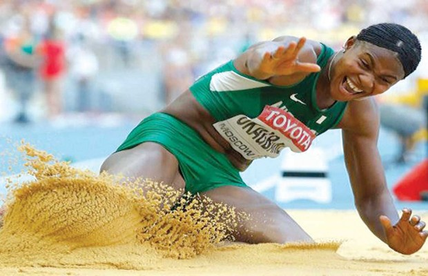 Okagbare sails into long jump final, Brumes crashes out