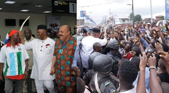 Akpabio arrives Uyo getting set to decamp (photos)