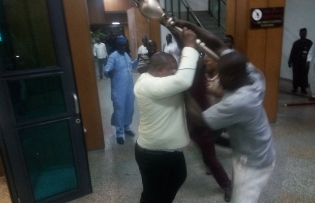 Breaking: hoodlums invade Senate, snatches mace