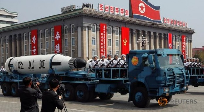 North Korea displays missile