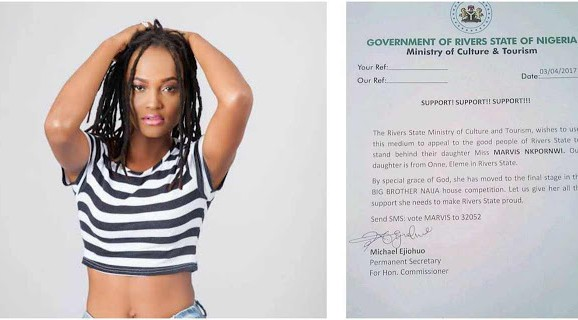 BBNaija housemate, Marvis gets government's support (see evidence)