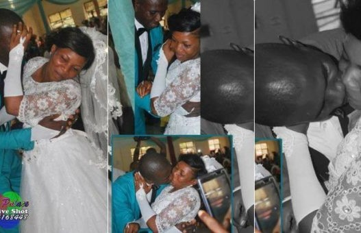 Bride shies away from kissing husband