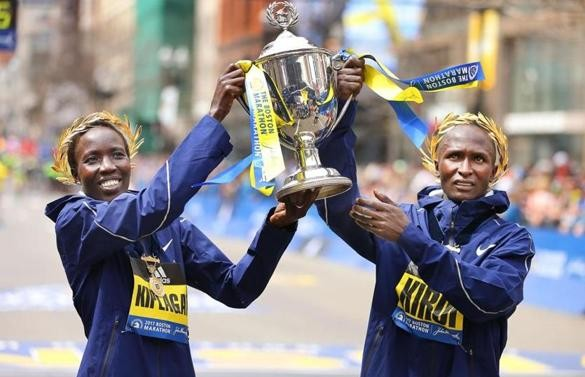 Kenyans sweep titles at Boston Marathon
