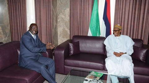Weah meets Buhari, canvasses for Eagles