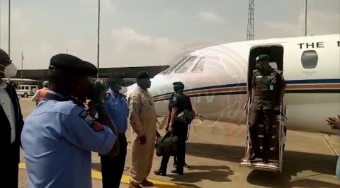 IGP, Mohammed Adamu arrives Alakia Airport for a day Work Visit in Oyo State.