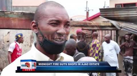 Midnight Fire Guts Shops in Ajao Estate
