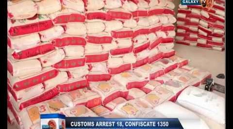 Customs Arrest 18, Confiscate 1350 Bags of Foreign Rice